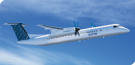 Print World official regional carrier Porter Airlines flies the super-comfy Q400 to Toronto Island Airport
